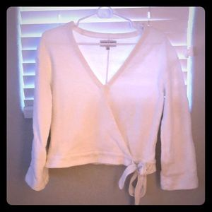 Madewell Texture & Thread White Wrap Top XS
